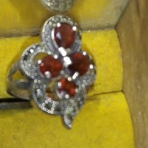 .925 Marcasite Ruby* Vintage Cocktail Ring Sz 8